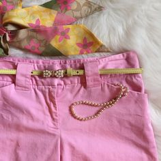 "Lilly Pulitzer Pink 10"" Bermuda Shorts Size 2 Lilly Pulitzer Pink Bermuda Shorts. Size 2. Inseam 10"" Waist 14 1/2"" flat. Rise 8 1/2"". Excellent condition. No stains, holes, thread pulls. Zipper works good. 97% Cotton & 3% Spandex. Please feel free to ask questions before buying. No Trades. No PayPal. Lilly Pulitzer Shorts Bermudas"
