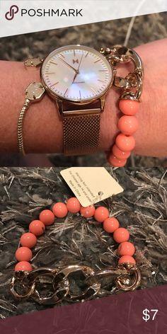 NWT coral and gold stretch link bracelet Beautiful statement bracelet to add onto your arm candy, as pictured! Comes in colors as well- check out the closet or you can go to our website at OneHaute.com where we always offer free shipping. POSH will give you 10% off! 😉 Jewelry Bracelets