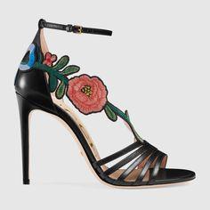 Embroidered leather mid heel sandal