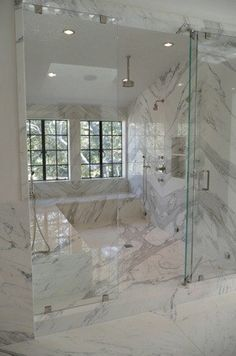 Marble steam shower with natural light and full bench to spread out! Heaven on earth! Master Bath Shower, Master Bathroom, Huge Shower, Dream Shower, Double Shower, Basement Bathroom, Laundry In Bathroom, White Bathroom, Marble Bathrooms
