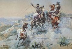 WESTERN ART POSTER Waiting and Mad Charles M Russell G10 PRINT IMAGE PHOTO