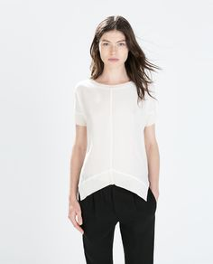 Image 1 of RIBBED NECK TOP from Zara