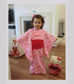 Japanese kimono dress  for 5 year old girl by japanmomijidesigns, $130.00