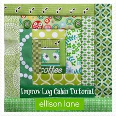 Improv Log Cabin Block Tutorial | AllFreeSewing.com Links to other good quilt tutorials.