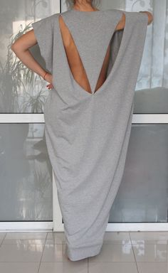 Open Back Grey Maxi dress Caftan by cherryblossomsdress on Etsy