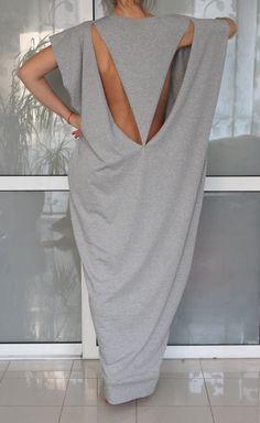 Open Back Grey Maxi dress Caftan by cherryblossomsdress on Etsy