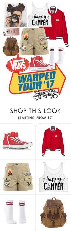 """Happy Camper"" by musicallymasked ❤ liked on Polyvore featuring Converse, Tommy Hilfiger, Love Moschino, Charlotte Russe, TSD and Casetify"
