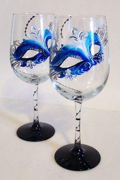 Mardi Gras Mask Hand Painted Custom Wine by LKCustomCreations