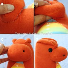 Free pattern and tutorial on how to sew sock dragon with 2 pairs of socks. This sock dragon has small arms, big foot, a pair of bat wings and a spiky back.