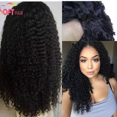 Kinky Curly Glueless Brazilian Human Hair Silk Top Wig Silk Top Lace Front Wig / Full Lace Wig With Baby Hair For Black Women