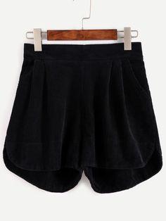 Pantalones cortos de pana con cintura elástica-Sheinside