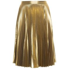 A.L.C. Metallic Skirt ($661) ❤ liked on Polyvore featuring skirts, cocktail skirt, knee length pleated skirt, evening skirts, brown knee length skirt and pleated skirt