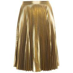 A.L.C. Metallic Skirt (40.675 RUB) ❤ liked on Polyvore featuring skirts, bottoms, metallic pleated skirt, metallic gold skirt, holiday skirts, gold skirt and brown knee length skirt