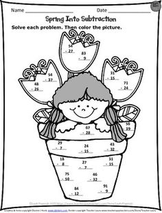 FREE Spring Subtraction worksheet. Just print and go!