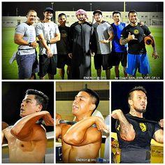 8/30/14 Sheikh Majid with brothers Pinoy and Kuya.  Dubai Fitness Championship. Photo: Superdan57