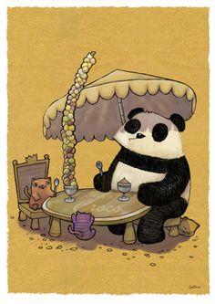 Great Drawings with Pandas pics) Panda Love, Cute Panda, Cat Love, Cream Cat, Ice Cream, Panda Images, Panda Drawing, Cartoon Panda, Panda Art