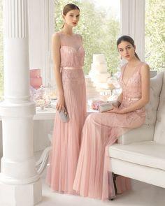 Trajes de noche estilo vintage en tul y predería en color rosa palo. Colección fiesta 2015 Aire Barcelona