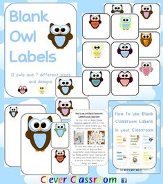 Owl Themed Blank Classroom Labels - 48 pages 48 pages, plus a 15 page how to use guide, with images all designed by Clever Classroom.    These basic, blank owl templates can be used as labels to add to your owl theme.    There are 7 different designs of the same 12 owls i.e. 6 to a page, 4 to a page, 2 to a page, with the owls in different positions and 2 sets with the owl on a full-page. Includes cover page…