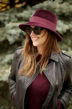 Burgundy Hat, Maroon Hat, Burgundy Fedora, Felt Hat, How to wear a hat