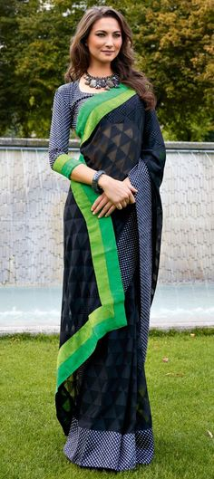 126605: Black and Grey color family Saree with matching unstitched blouse.