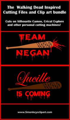 Walking Dead SVG files for silhouette cameo or cricut! LOVE! Lucille is coming, Team Negan, walking dead Negan, walking dead Lucille, dxf file, studio files, clipart bundle. TWD