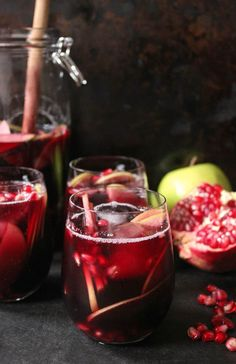 Autumn Sangria with Apples, Pomegranate and Blackberries