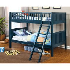 blue bunk beds! annie sloan chalk paint and dark stain. can't