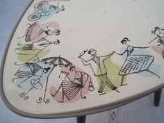 Vintage Tische - Rockabilly Nierentisch Blumenhocker,Keramik,50iger - ein Designerstück von nonnalisa bei DaWanda