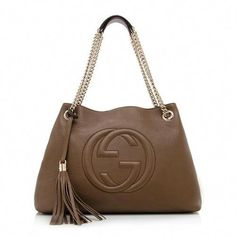 f11b2428f81 Gucci Soho Leather Shoulder Bag Dark Brown Cuir Gold Chain Handbag New  Italy  Hermeshandbags Gucci