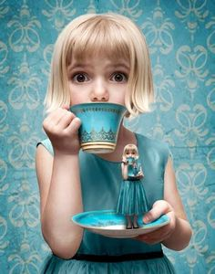 This has a very Alice feel. I like that the wallpaper behind her matches her dress and teacup. I feel like perhaps there should be a deeper shadow on the saucer beneath where the littler girl is standing.