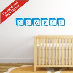 Personalised children's wall stickers per letter block Personalised Wall Stickers, Name Wall Stickers, Childrens Wall Stickers, Block Lettering, Cribs, Room, Home Decor, Wall Stickers For Kids, Cots