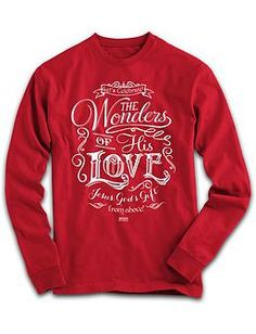 Check out our Wonders of His Love Long Sleeve Shirt! It's time to celebrate and bring others along with you. The Wonders of God's Love began when He sent Jesus, His only Son, from above to give His life for everyone. As Christmas is celebrated, join with other Christian apparel evangelists to proclaim the true meaning of the season. Don't let Christmas pass by without offering the ultimate gift of Jesus to your friends and family. www.limitlessboutique.com