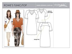 AmazonSmile: Style Arc Sewing Pattern - Rowes Raglan Tunic Top - Sizes 18-30 - Click for Other Sizes Available: Arts, Crafts & Sewing
