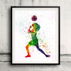 Woman soccer player 06 - Fine Art Print Glicee Poster Home Watercolor sports Gift Room Children's Illustration Wall - SKU 2294 by Paulrommer on Etsy