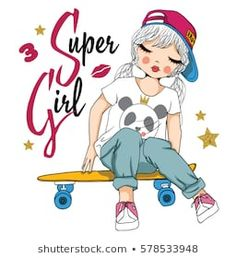 cute girl with skateboard vector/T-shirt print/Romantic hand drawing poster/For apparel or other uses,in vector. Diy Crafts For Girls, Skateboard Girl, Penny Skateboard, Adolescents, Girl Sketch, En Stock, Girl Cartoon, Princess Cartoon, Kids Prints