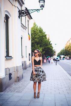 Bralette, Full Skirt, Strappy Sandals