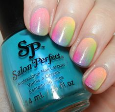 Let them have Polish!: Salon Perfect Neon POP Rainbow Ombre Nail Art + Video Tutorial