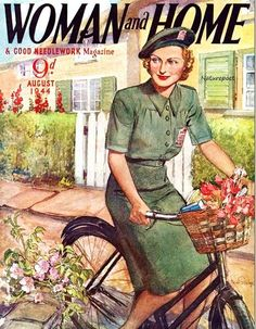Woman in War Time Riding Bicycle Vintage 1944 by naturepoet, $4.50