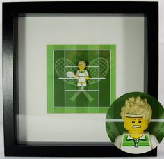 Tennis Lego Minifigure On Printed Tennis Coute Within A Frame