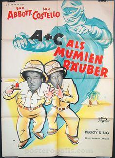 Abbott and Costello Meet The Mummy, German movie poster, 1955.