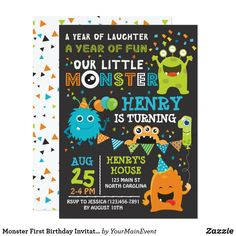 Monster First Birthday Invitation, Monster Invite - Super cute and fun kids Monster party invitation. Second Birthday Boys, Little Monster Birthday, Monster 1st Birthdays, First Birthday Themes, Monster Birthday Parties, First Birthday Parties, First Birthdays, Birthday Ideas, Birthday Gifts