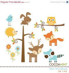 Cute woodland animals clip art