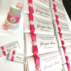 Chocolate Bar Bombonieres in hot pink colour scheme. A perfect thank you gift for your guests, personalised with guest names to be doubled up as a Placecard. Made by Over the Rainbow Invites.