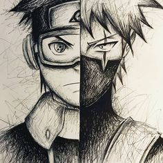 Manga Drawing Kakashi and Obito Fan Drawing Naruto Drawings, Kakashi Drawing, Naruto Sketch, Anime Drawings Sketches, Anime Sketch, Pencil Drawings, Anime Naruto, Naruto Shippuden Anime, Naruto Art