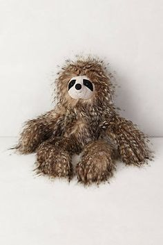 Fuzzy Friend Stuffed Animal. Sloth. This picture doesn't even do this little guy justice. He is the softest, cutest thing ever. I was gushing and wanted to buy this for the child I don't have yet. hehe #anthropologie