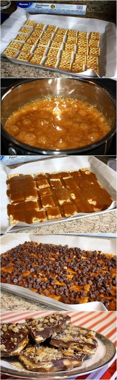 Cracker Toffee, thhis was always made at my house during Christmas, We called it cracker candy