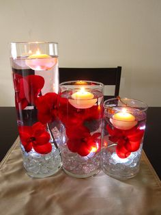 Floating Candle Centerpiece Kit with Artificial Red Orchids and White LED Light.