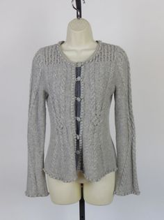 Anthropologie Laureate Lane Angora Bell Sleeve Cable Knit Work Wear Sweater XS $28.99 FREE SHIP #Anthropologie #Cardigan