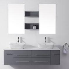 Virtu USA Augustine Grey Double Sink Bathroom Vanity Set, Brushed Nickel or Polished Chrome Faucet Bathroom Vanity Cabinets, Vanity Sink, Bath Vanities, Bathroom Furniture, Engineered Stone Countertops, Double Sink Bathroom, Modern Bathroom, Bathroom Ideas, Master Bathroom
