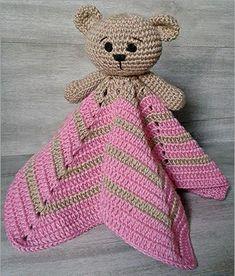 New crochet amigurumi baby doll tutorials Ideas Chat Crochet, Crochet Bear, Crochet Animals, Diy Crochet, Crochet Dolls, Crochet Security Blanket, Crochet Baby Blanket Free Pattern, Crochet Patterns, Bear Patterns